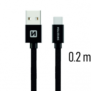 Swissten Textile Universal Quick Charge 3.1 USB-C Data and Charging Cable 20 cm Black